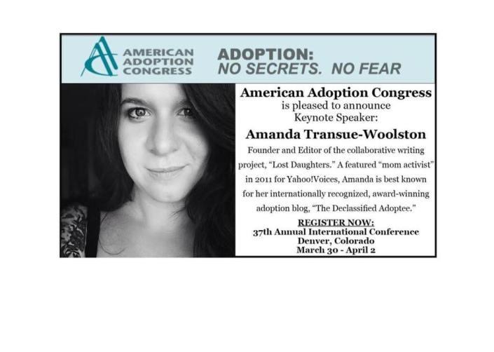 Amanda Transue-Woolston American Adoption Congress Conference Keynote